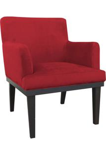 Poltrona Decorativa Vitória Para Sala E Recepção Suede Vermelho - D'Rossi