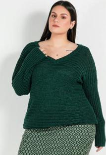 Tricot Plus Size Verde Com Ponto Largo