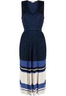 Twinset Vestido Midi Com Pregas - Azul