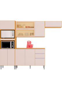 Cozinha Compacta 10 Portas E 2 Gaveta C/ Balcão Aline-Poquema - Damasco / Off White