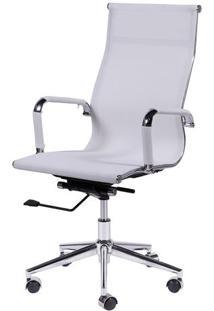 Cadeira Office Eames Tela- Branca & Prateada- 112,5Xor Design