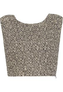 Top Cropped Tweed - Preto E Dourado