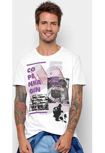 Camiseta Manga Curta Triton Estampada Copenhagen Masculina - Masculino-Branco