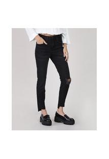 Calça Jeans Feminina Cigarrete Cintura Média Com Rasgo Preta