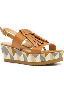 Sandália Zariff Shoes Plataforma Barbicacho - Feminino-Marrom