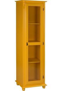 Torre Com Porta De Vidro E 3 Prateleiras 190 Cm Amarelo