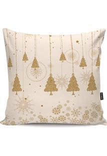 Capa Para Almofada ÁRvore De Natal- Bege & Dourada- Stm Home