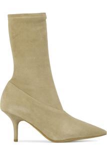Yeezy Ankle Boot De Couro Com Zíper Lateral - Nude & Neutrals