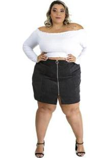 Saia Plus Size Brio Segredo Feminina - Feminino-Preto