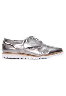 Sapato Feminino Oxford Recortes - Prata