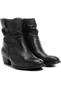 Bota Slouch Shoestock Couro Cano Curto Feminina