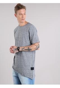 Camiseta Masculina Longa Assimétrica Manga Curta Gola Careca Cinza Mescla