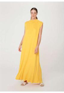 Vestido Midi Alongado Muscle Tee Gola Alta Amarelo