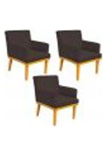 Kit 03 Poltronas Decorativa Para Sala De Estar Base Mel Beatriz W01 Corano Marrom - Lyam Decor