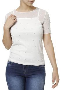 Blusa Regata Feminina Com Sobreposição Branco