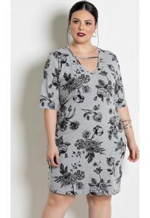 Vestido Mangas 3/4 Plus Size Mescla/Floral