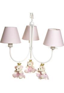 Lustre 3L Ariel Com 3 Ursinhas Princesas Quarto Bebê Infantil Menina Potinho De Mel Rosa - Kanui