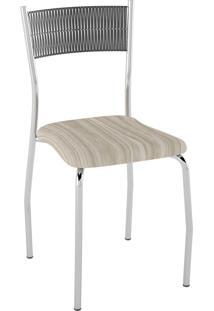 Kit C/ 2 Cadeiras Encosto Preto Assento Amadeirado Caramelo Pozza