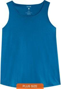 Blusa Azul Básica Em Malha Plus