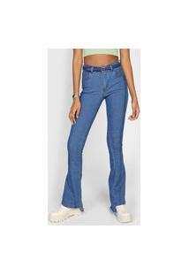Calça Jeans Forever 21 Flare Assimétrica Azul