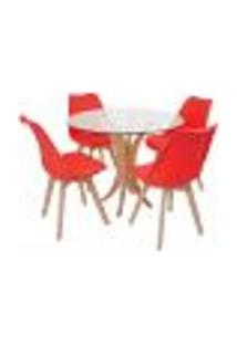 Conjunto Mesa De Jantar Tampo De Vidro 90Cm Com 4 Cadeiras Leda - Vermelho