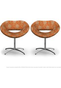 Kit 2 Cadeiras Beijo Floral Marrom E Laranja Poltrona Decorativa Com Base Giratória