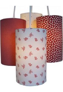 Luminária Corações E Flores Crie Casa Branco E Vermelho
