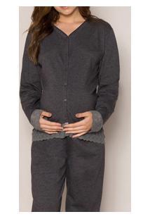 Pijama Longo Gestante Aberto Com Renda Pzama (20002) Algodão