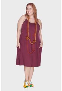 Vestido Bold Com Alças Finas Plus Size Feminino - Feminino-Vinho