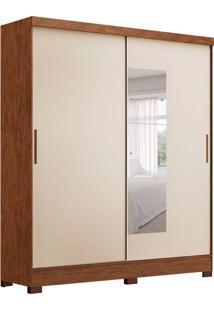 Guarda-Roupa Casal Com Espelho Calabria 2 Pt 2 Gv Legno Naturale E Pérola