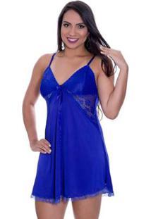 Camisola Estilo Sedutor Em Liganete E Renda Sem Bojo Francielly - Feminino-Azul