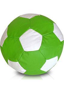 Puff Bola Futebol Cheio - Verde Limão E Branco - Atelier Sopuffs