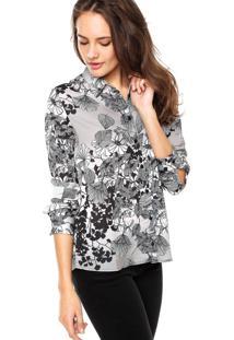 Camisa Manga Longa Colcci Floral Cinza/Preta
