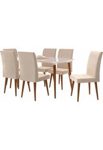Conjunto Mesa De Jantar Jade C/ 6 Cadeiras 1,70X0,90 Pés Palito White Rv Móveis