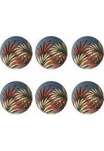Conjunto De Prato Raso Com 06 Peças Em Ceramica Faiança Feldspática Coup Sumatra Decorado - Porto Brasil