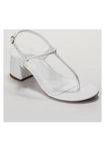 Amaro Feminino Sandália Minimal T-Strap Salto Flare, Branco