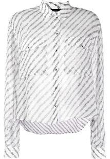 Diesel Blusa Com Slogan E Listras - Branco