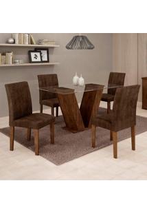 Conjunto De Mesa De Jantar Com 4 Cadeiras Classic Veludo Chocolate Marrom