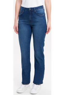 Calça Jeans Five Pockets Mid Rise Straig - Marinho - 40