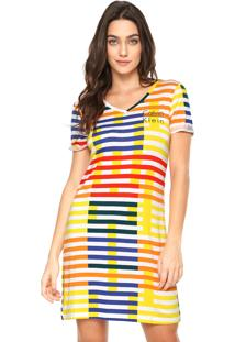 Camisola Calvin Klein Curta Listrada Amarela