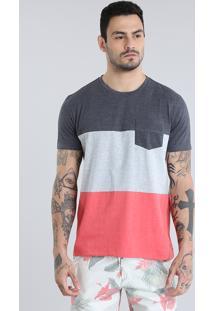Camiseta Com Recortes E Bolso Coral