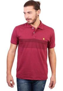 Camisa Polo New York Polo Club Listrada - Masculino-Vinho