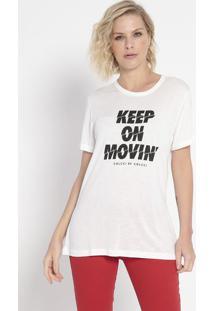 "Camiseta ""Keep On Movin'""- Off White & Preta- Colccicolcci"