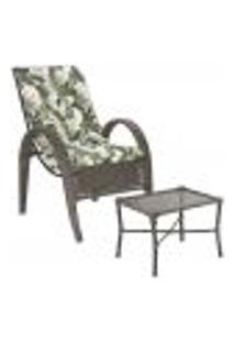 Jogo Cadeira 1Un E Mesa P/ Jardim Edicula Varanda Descanso Trama Napoli Plus Pedra Ferro A17