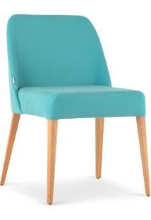 Cadeira Rosini - Base Trigo E Tecido Turquesa