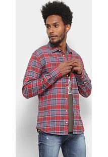 Camisa Xadrez Manga Longa Colcci Slim Masculina - Masculino-Vermelho+Azul