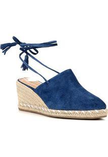 Sandália Anabela Shoestock Corda Camurça Feminina - Feminino-Azul Claro