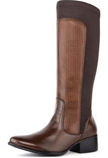 Bota Montaria Feminina Art Shoes Cano Alto 309M Chocolate Marrom