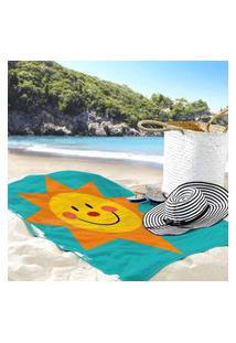 Toalha De Praia / Banho Sol Radiante E Feliz Único