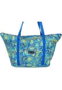 Bolsa Ana Viegas Tote-Shopper Tecido Espaçosa Praia Feminina - Feminino-Azul Claro